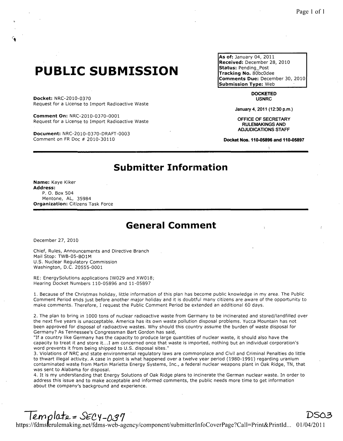 2010/12/28-Letter of Kaye Kiker, Opposing Energy Solutions of Oa