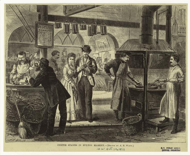oyster stands fulton market PC Art and Picture Collection, The New York Public Library